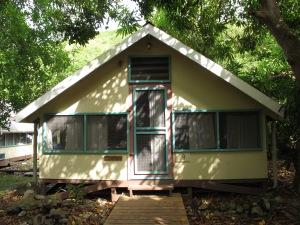 Our cabin (#9 - Mango) at the Virgin Islands Environmental Resource Station (VIERS) camp