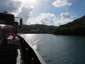 The car ferry between St. Thomas and St. John. This ferry boat only has one ramp, so each car has to back on!