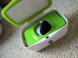 Oxo Tot Wipes Dispenser- awesome find for our reusable baby wipes!
