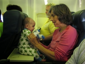 If possible, bring grandparents with you on the flight. This is the best entertainment!