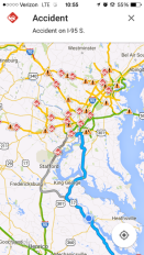 We are the happy blue dot heading south to flee the traffic and snowstorm mayhem in DC