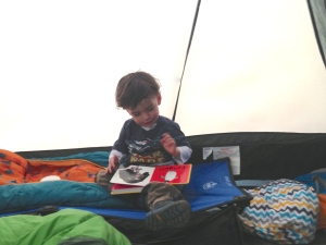Car camping in Virginia - Joey's travel bed and sleeping bag