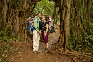 Group hike at Manoa Falls on a family morning